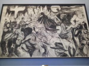 """""""The moral arc of history ideally bends towards justice but just as soon as not curves back around toward barbarism, sadism, and unrestrained chaos""""Grafito y pastel sobre papel Kara Walker (2010)"""
